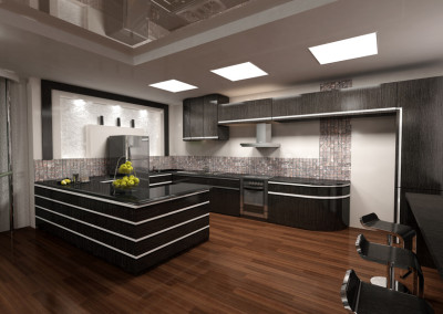 3D rendering of modern kitchen