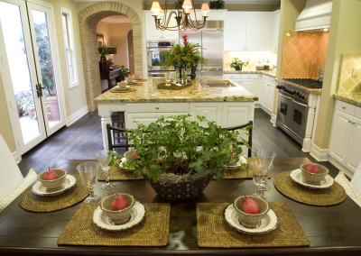 Luxury kitchen with a breakfast table.