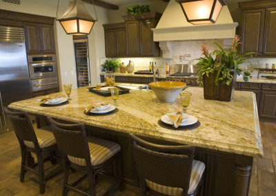 Luxury kitchen with a modern granite island.