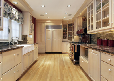 Kitchen with oak wood cabinetry